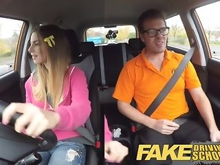 Dark-hued damsel gets packed with milky jizm after a driving lesson pornvideo