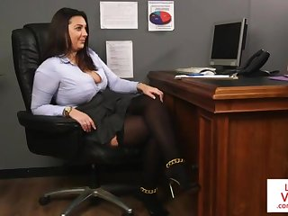 Office sweetie teaches slave fucking partner to masturbate