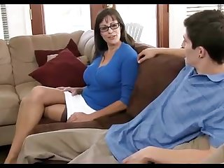 Dark haired mummy loves wearing coal-black pantyhose, while hotwife in the first place will not hear of hubby in the living apartment