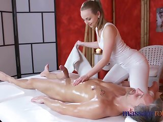 Massage Rooms Rowdy orgasms and creampie for chubby cock