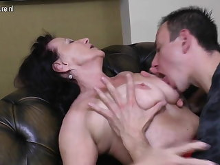 Old granny fucked by her adolescents