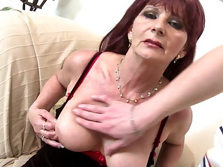 Old grandma slut drag inflate and charge from big young cock