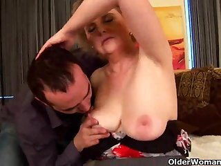 Granny with big tits increased by hairy pussy rides load of shit