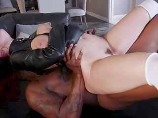 Sensual women take a crack at chum around with annoy black monster in a perfect fetish play