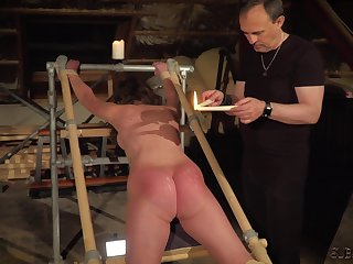 Teen slave screams together with cums for her BDSM master
