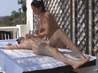 Lesbian massage leads girls to insane masturbation