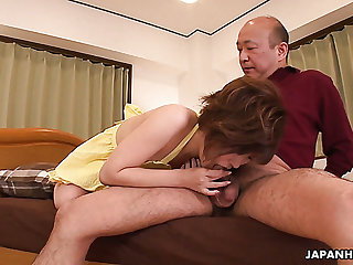 Kaede Oshiro loves their way vibrator and she wants this old fart's dick