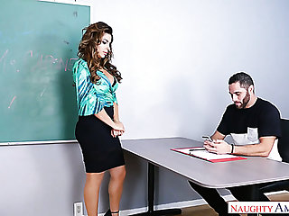 Fine and curvaceous despondent professor feeling horny for a young guy