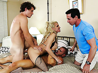 Mature with an increment of busty tow-headed woman boned by two young with an increment of horny studs