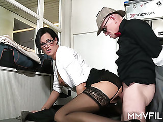 Sexy office slut Sina Velvet can't resist a alms-man with a nice dick