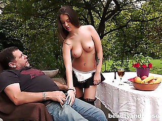 Oddball maid in cute uniform gets a chance with respect to ride lion-hearted cock outdoors