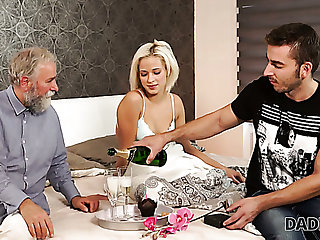 Lewd bearded buddy lets older cadger beguile his own slender GF Ria Sun