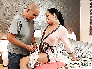 Eye-catching tanned Hungarian brunette Dolly Diore works on old firm cock