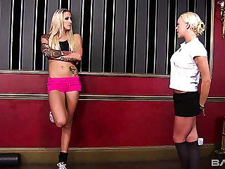 English MILF Angel Long helps her sporty auburn woman to gain orgasm