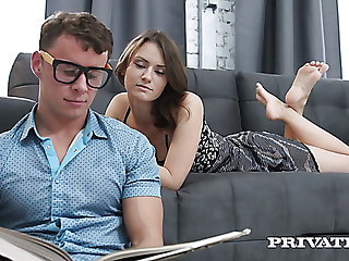 Nerdy clothes-horse fucks juicy pussy of pretty curly pale girl from behind