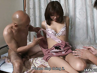 Gumshoe and pretty Japanese housewife Juri Kitahara gets warmed up by men