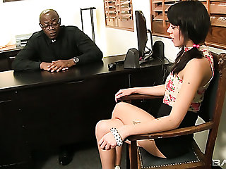 Gamine disappointing gal Binky Bangs lures black priest to ride his fat BBC