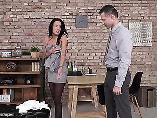 Mesmerizing brunette secretary Lexi Layo mechanical rides fat cock