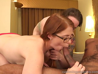 Hot Redhead and Her Husband Share a Chubby Ebon Cock