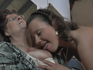 Natural amateur 3 old and young lesbians lady-love many times other