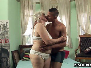 Granny Norma takes young boy's steadfast cock